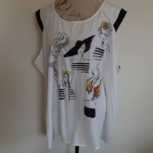 Lane Bryant Graphic Sleeveless Blouse Women's 26